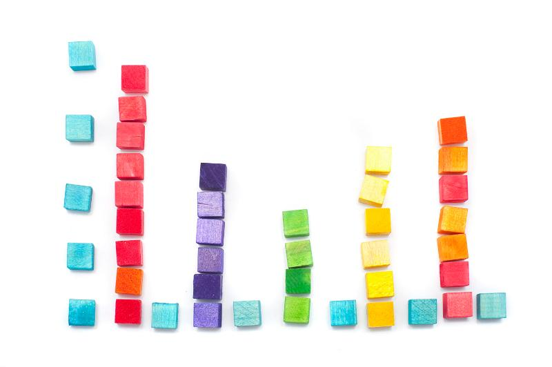 Learning about the bar graph with childrens wooden toy building blocks stacked and arranged as a colourful bar graph